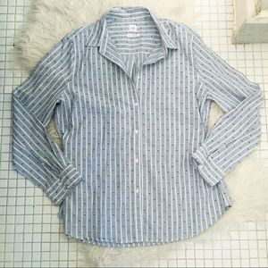 Gap Pinstriped Fitted Boyfriend Shirt